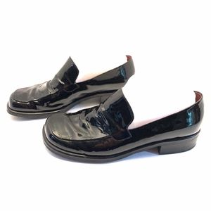 Franco Sarto Black Patent Leather Bocca Loafers 8M